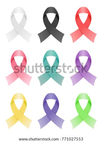 Set of awareness ribbons icons. Vector illustration.