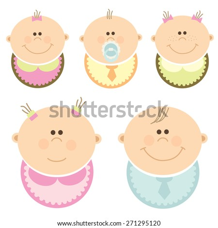 Set of babies wearing bibs - stock vector