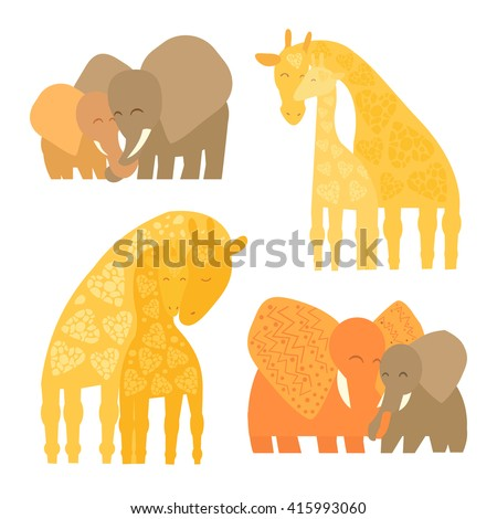Set of Baby and Mommy Animals isolated on white. Mother's hugs. Cute elephants and giraffes - moms and kids. - stock vector