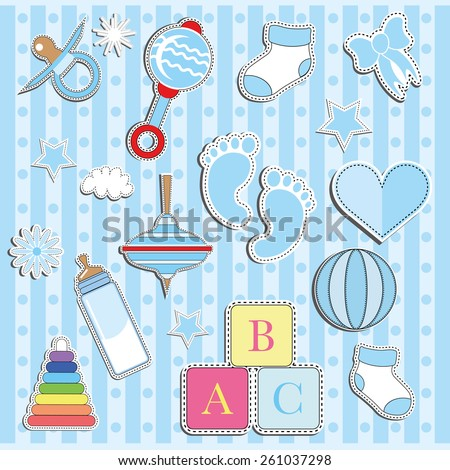 Set of Baby boy cute paper labels.