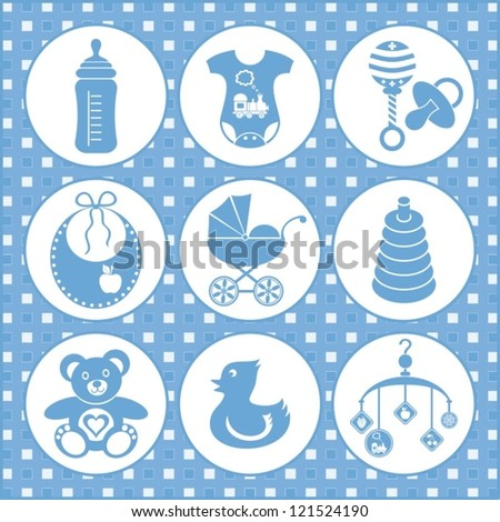 set of baby boy icons - stock vector