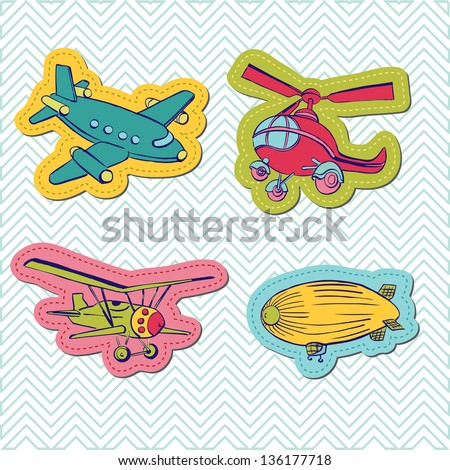 Set of Baby Boy Plane Stickers - for design and scrapbook - in vector - stock vector