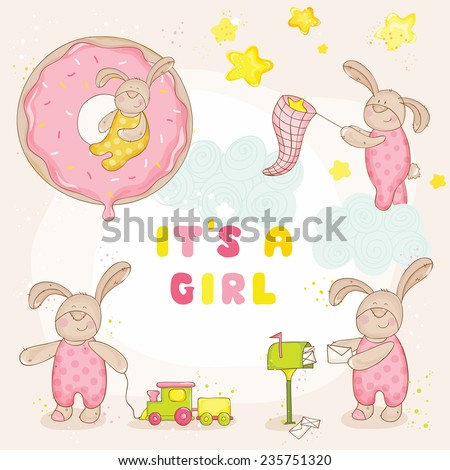Set of Baby Bunny - Baby Shower or Arrival Cards - in vector - stock vector