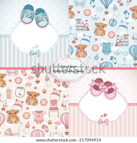 set baby cards newborn card design stock vector royalty free