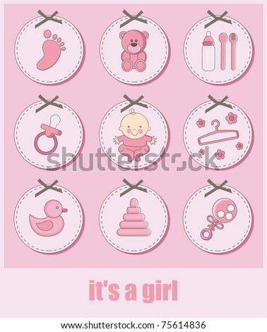 set of baby girl objects. vector illustration - stock vector