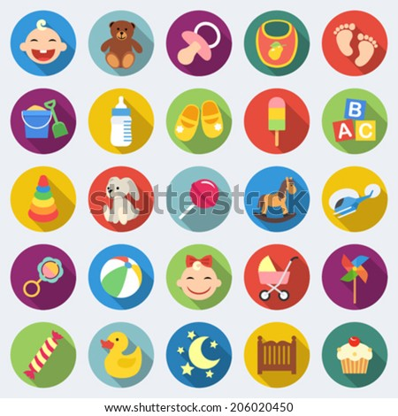 Set of baby icons in flat design with long shadows