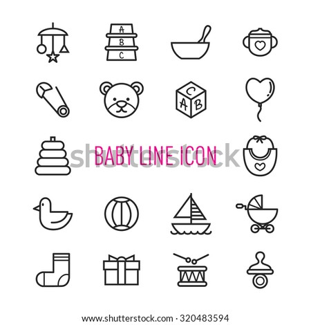 set of baby line icon isolated on white  background - stock vector
