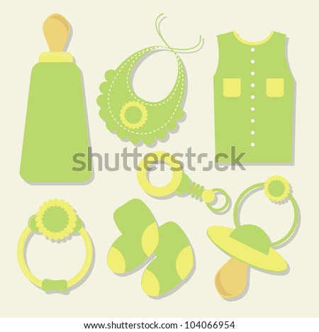 set of baby objects - stock vector