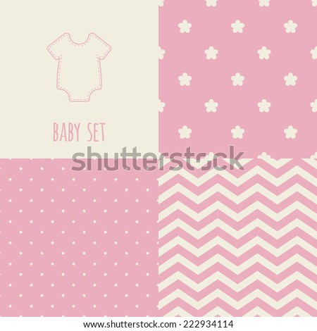 Set of baby seamless patterns. Illustration of baby rompers. Pink, cream colors. For cards, scrapbooks, invitations, printing on fabric etc. - stock vector