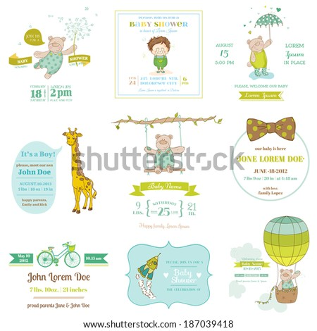 Set of Baby Shower and Arrival Cards - for design and scrapbook - in vector - stock vector