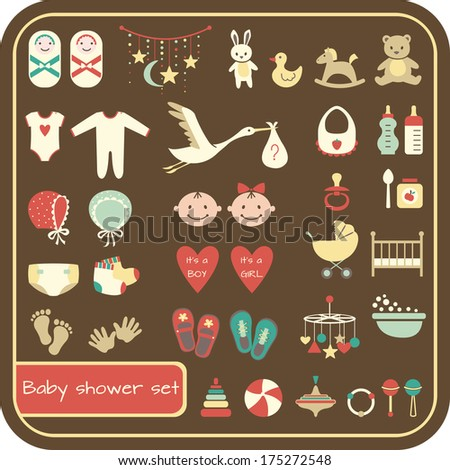 Set of baby shower elements. Vector illustration - stock vector