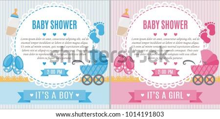 set baby shower invitation card babyのベクター画像素材 1014191803