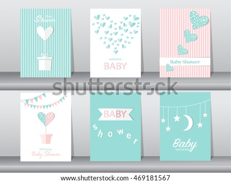 Set of baby shower invitations cards,poster,greeting,template,hearts ...