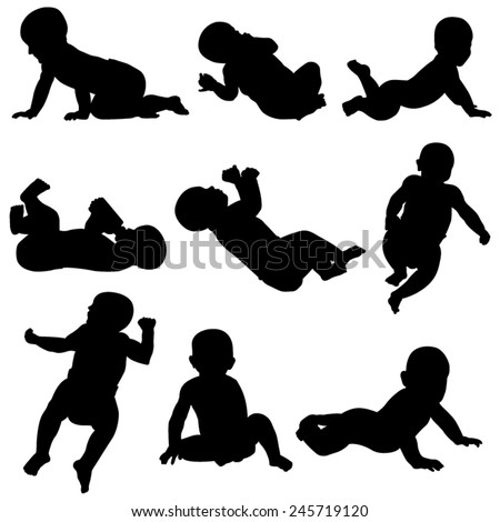 Set of  Baby Silhouettes Isolated on White Background. Vector Image - stock vector