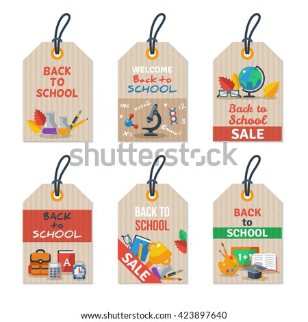 Set of Back to school tags on craft paper. Vector illustration. Arts and Science Education Flat icons.
