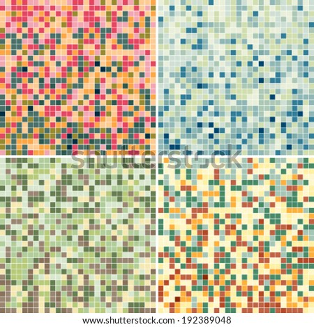 Set of background with multi-color tile texture. Wall covering suitable for bathroom or kitchen. Pixel effect.