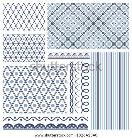 Set of backgrounds, borders, edging. In style russian gzhel - stock vector