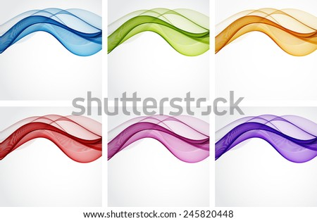 Set of backgrounds with abstract color waves - stock vector