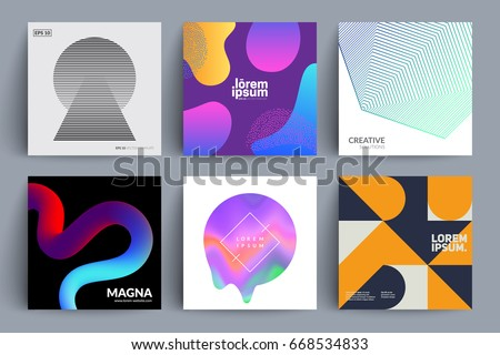 Set of backgrounds with different designs. Minimal, fluid color, holographic, retro, geometric covers. Eps10 vector illustration.