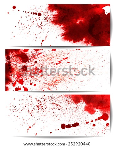 Set of backgrounds with eight highly detailed bloodstain  - stock vector