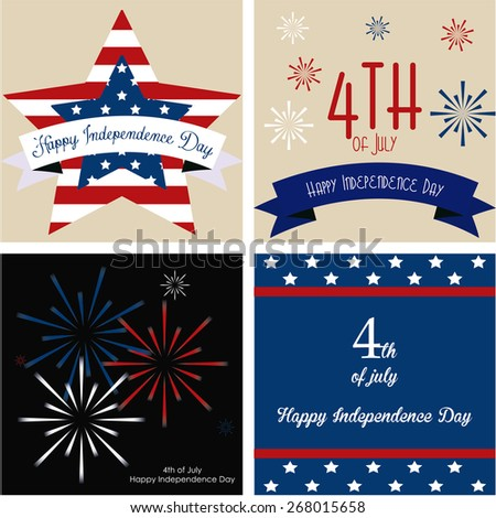 Set of backgrounds with elements for independence day. Vector illustration