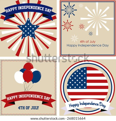 Set of backgrounds with elements for independence day. Vector illustration - stock vector