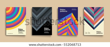 Set of backgrounds with Ethnic Geometric Patterns. Applicable for Covers, Placards, Posters, Flyers and Banner Design. Eps10 Vector illustration.