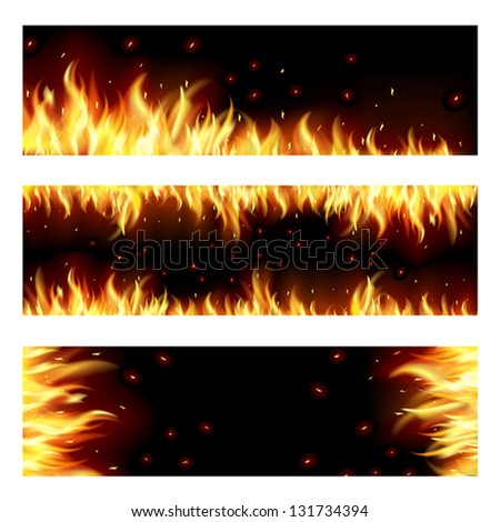 Set of backgrounds with flame. EPS10. Mesh. This file contains transparency. Clipping Mask. - stock vector