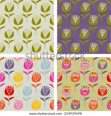 Set of backgrounds with flowers - stock vector