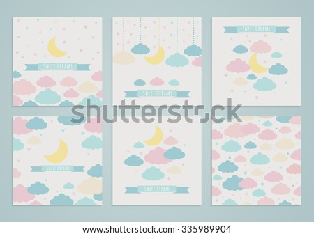 Set of backgrounds with moon, clouds and stars, and seamless pattern. Vector illustration. Sweet dreams - stock vector