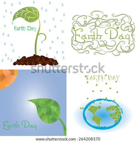 set of backgrounds with nature elements. Earth day. Vector illustrations