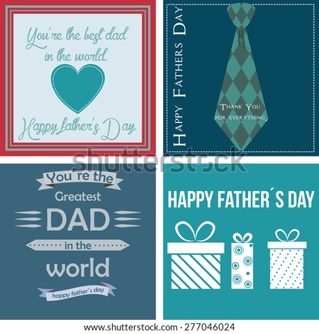 Set of backgrounds with text and elements for father's day. Vector illustration