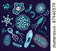 Set of bacterium and microorganism - stock photo