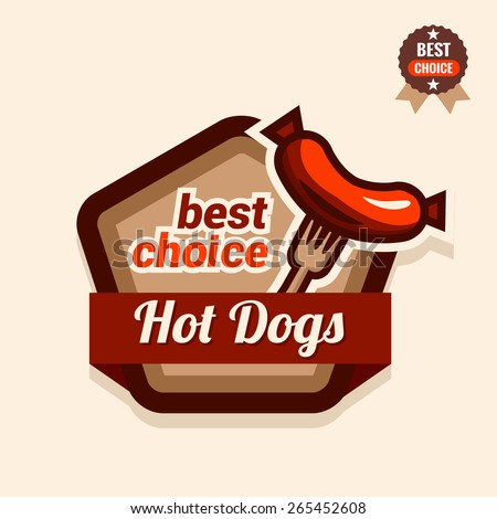 Set of badge, label, logo, icons design templates for american hotdog. - stock vector