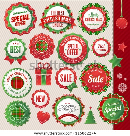 Set of badges and elements for Christmas and New Year - stock vector