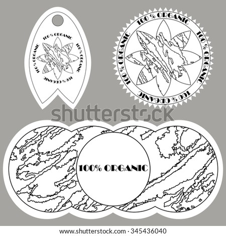 Set of badges and labels and stickers Texture style design. 100% pure organic product, bio, natural, certified, premium quality, eco friendly. Graphics, contours ,contrast - stock vector