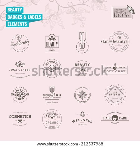 Set of badges and labels elements for beauty  - stock vector