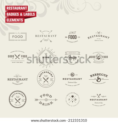 Set of badges and labels elements for restaurant