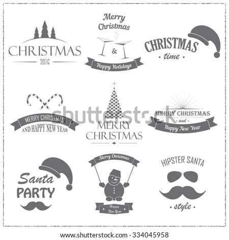 Set of badges and labels for Christmas and New Year on white background. Vector design element for congratulation cards, flyers and banners. - stock vector