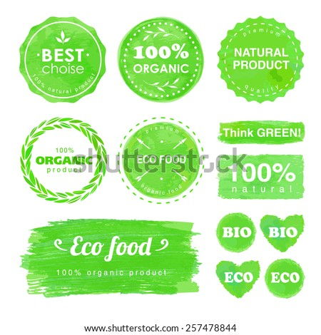 set of badges and labels for eco food and natural products - stock vector