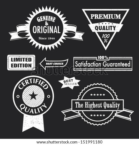Set of badges and labels. Retro vintage, chalk texture styled design. Genuine & original, certified, premium, the highest quality, limited edition, best choice, seller, 100% satisfaction guaranteed.  - stock vector