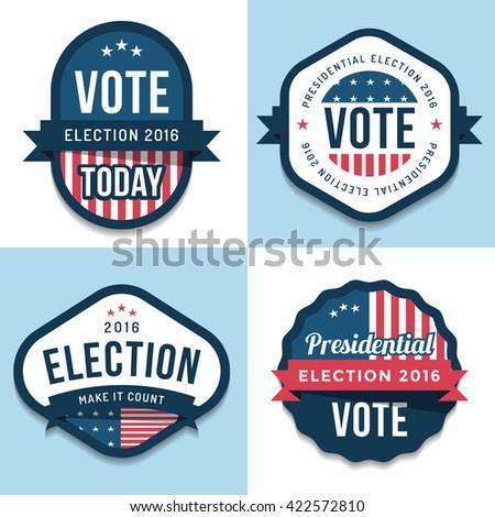 Set of badges, banner, labels, emblem design for united state election 2016. Politic Vote. Design elements. Vector illustration. - stock vector