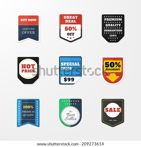 set of badges in the style stickers. Vector collection of web elements. Sale, discount, price. - stock vector