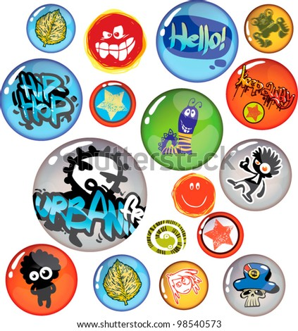 set of badges isolated on white background