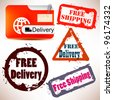 """Set of Badges, Labels, Tags """"FREE DELIVERY"""". Vector illustration. Grunge stamp with text - stock photo"""