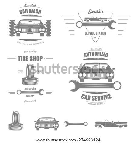 Set of Badges of Car Services: Tire Shop, Car Wash, Service Station, Authorized Car Service. And Separately Some Elements. - stock vector