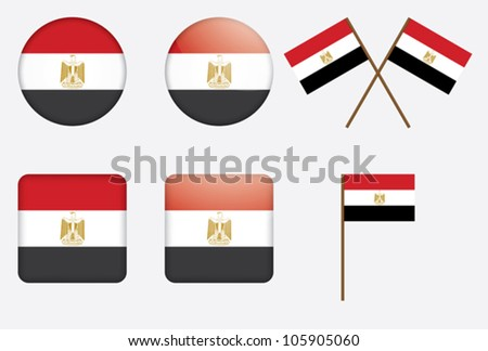set of badges with flag of Egypt vector illustration - stock vector