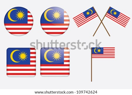 set of badges with flag of Malaysia vector illustration