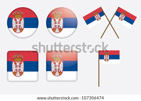 set of badges with flag of Serbia vector illustration