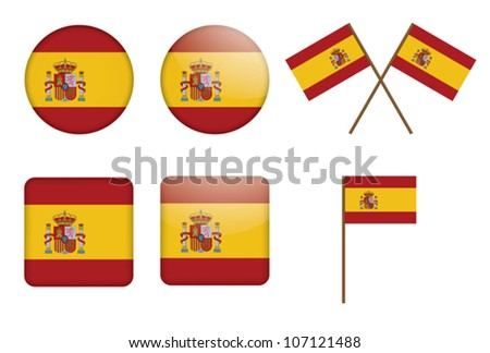 set of badges with flag of Spain vector illustration - stock vector